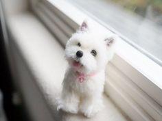 Needle Felted Westie Puppy, Dog Portrait Sculpture, Wool West Highland White Terrier Dog, Felt Animal, Miniature Dog, Blythe Accessory