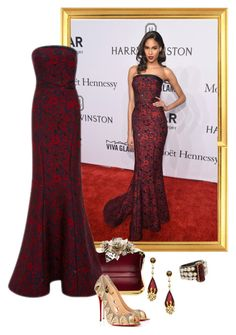 """""""Cindy Bruna – 2016 amfAR New York Gala."""" by foreverforbiddenromancefashion ❤ liked on Polyvore featuring Jimmy Choo, Zac Posen, Christian Louboutin, Chanel, Taara, women's clothing, women, female, woman and misses"""