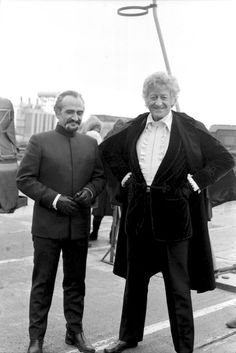 Jon Pertwee and Roger Delgado, striking a pose on the set of The Claws of Axos, 1971