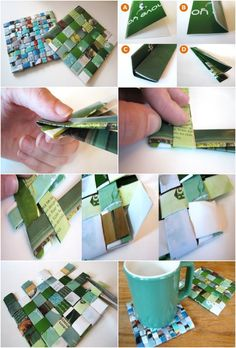 Recycled Magazine Coasters. Nat Geo would be perfect to use.