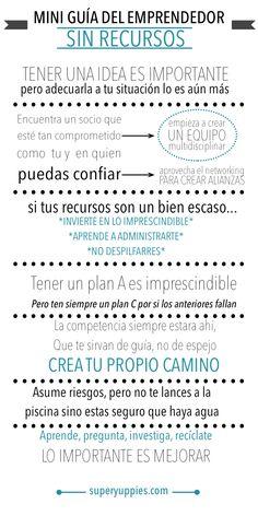 Guía para emprendedores sin recursos #infografia #infographic #emprender