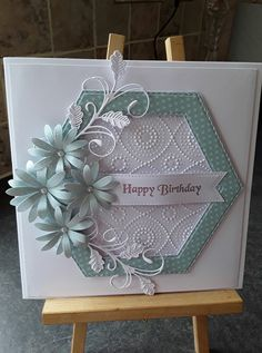 Birthday Cards For Women, Happy Birthday Cards, Chloes Creative Cards, Hexagon Cards, Shaped Cards, Cricut Cards, Embossed Cards, Beautiful Handmade Cards, Pretty Cards