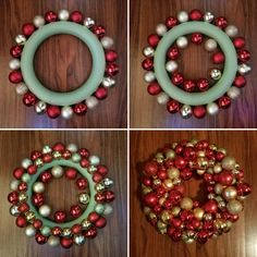 Creating a Christmas Ornament WreathYou can find Ornament wreath and more on our website.Creating a Christmas Ornament Wreath Bauble Wreath, Christmas Ornament Wreath, Christmas Wreaths To Make, Holiday Wreaths, Christmas Crafts, Rustic Christmas, Christmas Trees, Merry Christmas, Pool Noodle Christmas Wreath