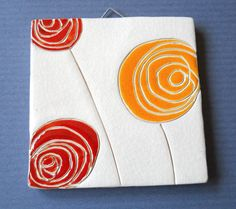 My orange and red roses, tile