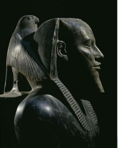 "Diorite Starue of Pharaoh Khafra (Khafre, Khefren, Chephren). Figure of Horus behind his head. Dynasty IV, ca. 2520–2494 BCE. Diorite, approx. 5' 6"" high. Egyptian Museum, Cairo."