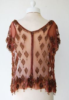 1920's Brown Crepe Beaded Flapper Top