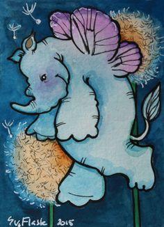 Rhino Fairy - 2015 Sue Flask ACEO ORIGINAL Gouache Pen Painting Card Miniature #Miniature