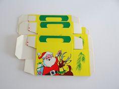 Santa Reindeer Cardboard Candy Cookie Box Unused Vintage Christmas USA by LilBatsInTheAttic on Etsy