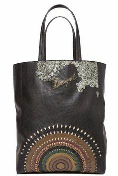 Desigual Women's Troquel Tachas bag with a woollen cloth interior and adjustable cord fastening. Die-cut print. Measurements: 31x40x13.50 cm. / 12.09