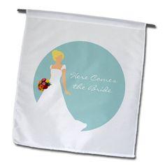 Janna Salak Designs Wedding - Here Comes the Blonde - Brunette Bride Blue - 12 x 18 inch Garden Flag (fl_165863_1) 3dRose http://www.amazon.com/dp/B00GZUY7BC/ref=cm_sw_r_pi_dp_qgSvvb0V4QFXA