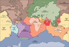 Actualmente existen 58 placas tectónicas en la superficie de la tierra con límites más o menos definidos, que se dividen en 15 placas mayores o principales (ver imagen) y 43 placas menores o secundarias. #placastectonicas