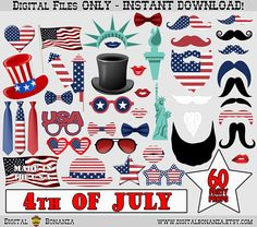Independence Day Photo Booth Props, 4th of July Props, Party Decoration, Patriotic Photobooth, American, Red White and Blue, Memorial Day party ********************************** WHAT IS THIS? ********************************** - This listing is for a high resolution DIGITAL FILE