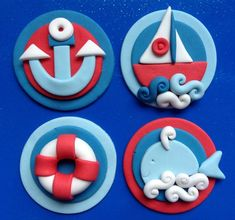 Sail away with some amazing Nautical Decor Ideas and Food for a Sailboat Themed Party. Nautical Party: Ideas for a Sailboat Party. Looking for some sea-sational nautical party ideas? Anchor Birthday Cakes, Birthday Cake For Him, Birthday Cookies, Nautical Cupcake, Nautical Party, Fondant Toppers, Cupcake Toppers, Graduation Desserts, Birthday Cake Decorating