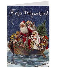 Victorian Christmas cards from Germany from 32 Degrees North  Is that a steering wheel in santas hand