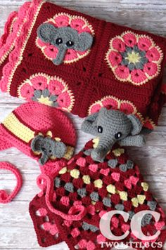[Free Crochet Pattern]Super-Cute And Super-Easy Elephant Square that can be made into an African Flower Blanket or lovey