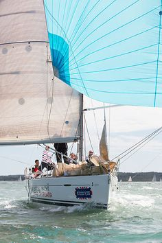 The Beneteau First 40 yacht 'Carpe Diem' racing in the Solent during Cowes Week.