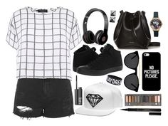 """""""Dream Big. ~ #OOTD"""" by elizabeth4ever ❤ liked on Polyvore featuring Topshop, Myne, Converse, Rachael Ruddick, Casetify, Beats by Dr. Dre, Smoke & Mirrors, Urban Decay, Elizabeth Arden and NARS Cosmetics"""
