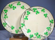 Pair Of Vintage Shamrock Plates With Basket Weave Made In Japan
