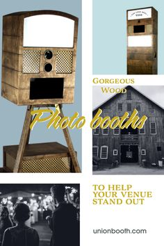 Venue owners: add a wood + brass hand built photo booth to your rental options to stand out from the crowd. Hate the way modern or cheap photo booths look in your beautiful barn venue?  We hear you!  All printers are integrated so there's no ugly printer sitting out on the table. Connect with Union Booth to learn more about which of our booths is the best fit for your venue. Elevate your brand & the overall experience for your couples. #barnvenue #woodphotobooth