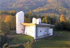 "#Architecture on #Pinterest  ""Chapelle de Ronchamp - Le Corbusier""  (a rare areal view)"