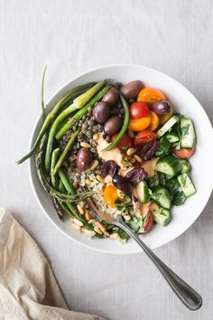 Quinoa & Lentil Bowl w/ Grilled Garlic Scapes + Red Pepper Tahini Sauce (Vegan + Gluten-Free) by The Green Life
