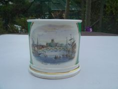 LARGE ANTIQUE 19TH CENTURY HAND PAINTED PORCELAIN TANKARD - WORCESTER FROM N W