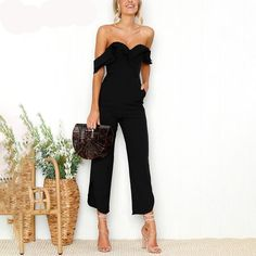 397dfaf104e Sexy Backless off shoulder black Tiered ruffle high waist jumpsuit romper