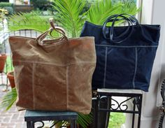 Handcrafted upcycled leather and canvas bags, made in New Orleans. Caramel Brown, Dark Navy Blue, Waxed Canvas, Make And Sell, Paper Shopping Bag, New Orleans, Brave, Leather Bag, Totes