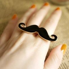 Vintage Adjustable Mustache Double Ring. Hilarious.
