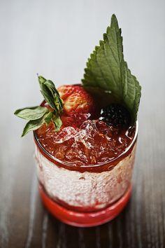 Scarlet Lantern (El Tesoro Anejo Tequila + Bitter Braulio Alpine Amaro +Strawberry + Black Fig Shrub + Malic Acid)