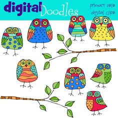 owls by+kpmdoodles+on+Etsy