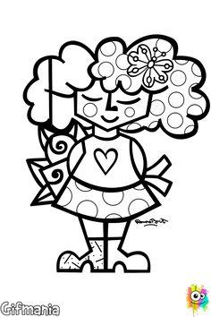 Chica de Britto #britto #romerobritto #dibujosparacolorear #chica