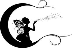 moon and fairy tattoo design- wondering if I can incorporate this with my existing fairy tattoo...