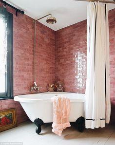things i own and love designlovefest bathroom ideas bathroom decor bathroom interior bathroom design badkamer ideeen badkamer inspiratie badkamer indeling badkam. Deco Design, Design Case, Design Design, Couch Design, Bathroom Inspiration, Interior Inspiration, Jo Wood, Decoracion Vintage Chic, Pink Tiles
