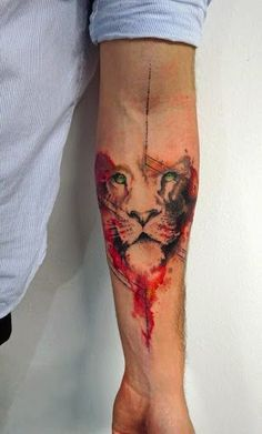 Check out Colorful lion tattoo or other lion forearm tattoo designs that will blow your mind, tattoo ideas that will be your next inspiration. Lion Head Tattoos, Mens Lion Tattoo, Body Art Tattoos, Hand Tattoos, Sleeve Tattoos, Tatoos, Tattoo Art, Wild Tattoo, Male Arm Tattoos