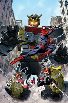 "akirakan: "" The Parkers meet Leopardon! Art by Nick Roche and colors by dyemooch. Marvel Vs, Marvel Dc Comics, Marvel Heroes, Hero Time, Comic Conventions, Dc Comics Superheroes, Marvel Comic Character, Cool Robots, Robot Art"