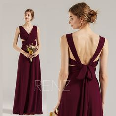 Bridesmaid Dress Burgundy Chiffon Formal Dress Ruched V Neck Wedding Dress Open Back Party Dress Long Convertible Sash Prom Dress (H899) Tulle Bridesmaid Dress, Burgundy Bridesmaid Dresses, Strapless Dress, Prom Dresses, Formal Dresses, V Neck Wedding Dress, Boho Wedding Dress, Wedding Dresses, Wine Dress