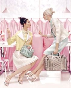 I wandered into the Harper's Bazaar fashion cupboard the other day to borrow a steamer and found myself surrounded by this season's gorgeous sugared almond colours. There was a particularly delicious pair of pistachio Louis Vuitton mules, seen here in pale strawberry icecream in Vuitton's current ad campaign.