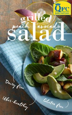 Gluten free, dairy free and ready in 20 minutes. This Grilled Peach and Avocado Salad is a versatile side that pairs well with chicken, steak, pork ribs or just about anything you decide to throw on the grill. Pork Ribs, Vegan Recipes, Cooking Recipes, Cooking Stuff, Vegan Food, Diabetic Recipes, Grilling Recipes, Cooking Ideas, Free Recipes
