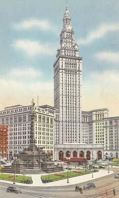 1) On August 29, 1937, Violet prepared to depart from the Union Terminal Railroad Station in Cleveland, Ohio. The and Soldiers and Sailors Monument is in front of the station.