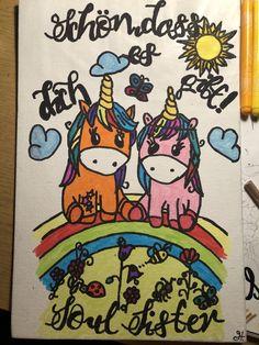 Bild für meine Beste Freundin zum Geburtstag selbst gestaltet und Schriftzug Freihand gezeichnet! Gemalt auf Malkarton mit Filzstifte