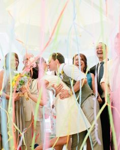 Multicolored streamers added a festive touch to this ceremony celebration