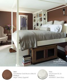 Lounge around with rich color while still creating a calming neautral space in the bedroom with Benjamin Moore Grandfather Clock Brown 2096-30 in Regal Select with an Eggshell Finish. Complete the look with trim in Cloud Cover OC-25, in ADVANCE paint.