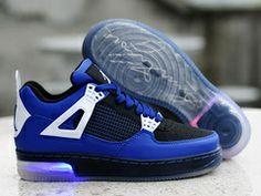 newest a0df5 fe62f Pas Cher Nike Air Jordan 4 Light up Hommes Basketball Chaussures Bleu Noir