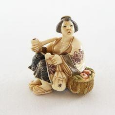 Mammoth Ivory Netsuke - Japanese Lady Smoking a Pipe