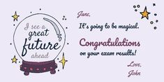 A purple crystal ball with a light purple background and star illustrations. Create your own twitter post for congratulating friends and family on social media.