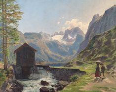 The Athenaeum - The Dachstein in the Salzkammergut Region near Lake Gosau (Rudolf von Alt - ) Rudolf Von Alt, Albertina Wien, Watercolor, Mountains, Architecture, House Styles, Design, Master Art, Landscapes