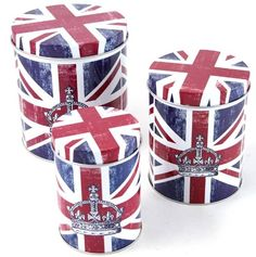 Set of Three Contemporary Britain Union Jack Nested Storage Tins : Amazon.com : Home & Kitchen