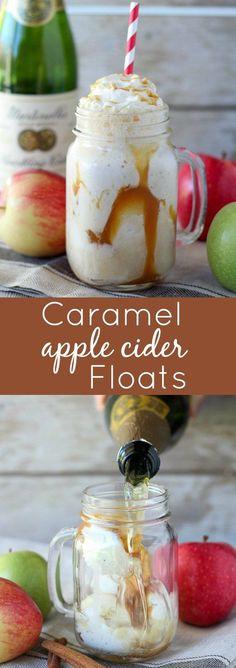 Caramel Apple Cider Floats - Creamy vanilla ice cream, salted caramel and bubbly…