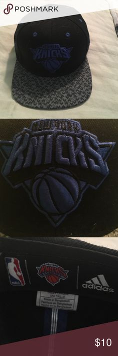 New York knicks SnapBack Black, blue and gray knicks SnapBack hat. Adidas, I bought it fanz two years ago and it's too big for my head. Accessories Hats